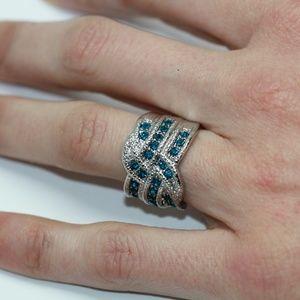 18k Gold Dipped Deep Blue Ocean Statement Ring